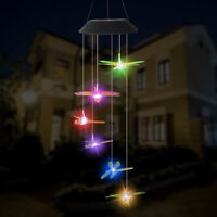 Color-Changing Outdoor LED Solar Powered Dragon Fly Wind Chime Light Yard Decor