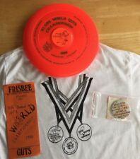 Wham-O 1988 11th GPA Worlds Guts Frisbee Championship Frisbee/Button/t-shirt 4pk