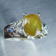 2.60cts Natural yellow sapphire &tanzanites Sterling .925 Silver ring