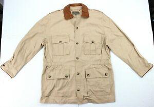 Mens JL Powell Cotton Leather Trim Shooting Hunting Utility Shirt Jacket Medium