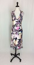 Cache Women's Sz 6 Long Printed Silk High-Low Open Back Floral Dress