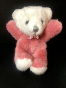 "DAKIN TEDDY BEAR Cuddles Stuffed Animal Pink White Silver Nose 1979  Soft 9"""