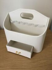 Cream Faux Leather Make Up Storage Caddy With Drawer & Handle - New