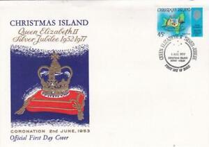 CHRISTMAS ISLAND 📭🎅🎅 1977 Queen Elizabeth II SILVER Jubilee FDC 🎅🎅📬
