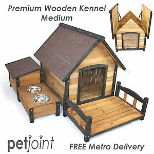 Medium Wooden Pet Dog Kennel House Large Timber Log Home Cabin Outdoor Puppy Run