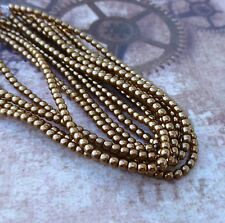 Strand of 150 Faux Pearl Beads Mini Glass Pearls Antique Gold 2mm PRL02-10146