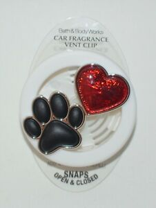 BATH & BODY WORKS PAW PRINT HEART SCENTPORTABLE HOLDER VENT CLIP CAR FRESHENER