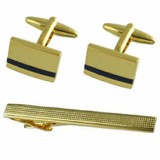 Blue Lapis Gold Cufflinks Gift Set With Tie Clip 65Mm