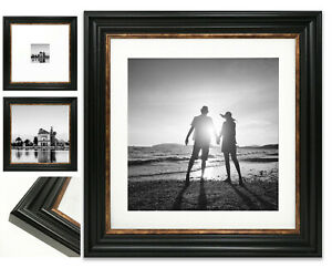 Vintage Black Photo Picture Frame Gold Square Wide Instagram Wall Mount All Size