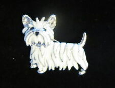 WESTIE West Highland White Terrier Pin Dog Silver Tone Black Eyes New