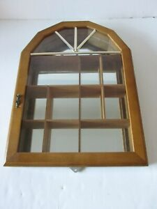 Wooden Wall Hanging Mirrored Curio Display Cabinet