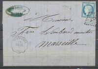 1874 Lettre N°60 obl amb. Convoyeur Station SOMMIERES VIG.LU. GARD(30) P2712