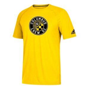 "Columbus Crew SC MLS Adidas Men's Yellow ""Squad"" Primary Logo Climalite T-Shirt"