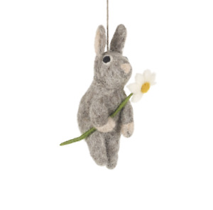 Handmade Hanging Daisy Bunny Fair Trade Felt Decoration