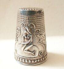 ancien Dé à coudre argent massif  silver thimble sirène femme nue mermaid