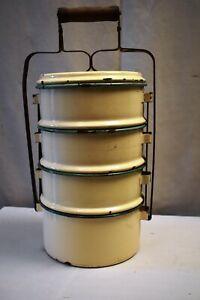 "Vintage Enamelware Tiffin Carrier Traditional Lunch Box Farmhouse Kitchenalia""5"