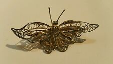 OLD CHINESE EXPORT SILVER FILIGREE BUTTERFLY PIN BROOCH