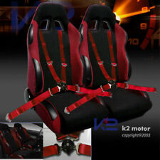 JDM Red Racing Seats w/ Slider+Pair 4 Point Camlock Harness Seat Belts