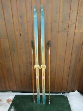 """Old  Wooden 67"""" Long  Skis with Bamboo Poles"""