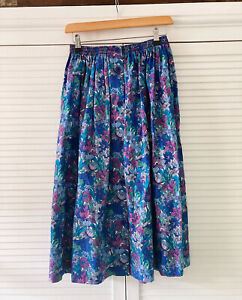 Vintage True Liberty Print Skirt Size 10 100% Cotton VGC Made in England Floral