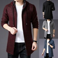 Mens Knitted Hooded Cardigan Sweater Coat Fleece Lined Winter Warm Plain Jacket
