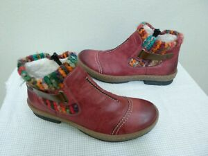 RIEKER FELICITAS 9.5 41 Red Leather Wool Yarn Zip Ankle Boot Trail Booties Shoes