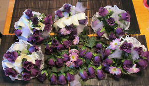 Lot of 5 Silk Roses Wedding Bouquets 59 Realistic Deep Purple Veined Never Used