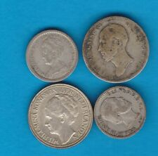 FOUR NETHERLANDS SILVER COINS 1849 TO 1941 IN USED FINE OR BETTER CONDITION