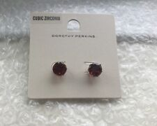 Red Stone Cubic Zirconia Stud Earrings Dorothy Perkins New