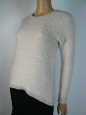 Ann Taylor Wool Blend Ivory Boucle Knit Thick Sweater Small Petite NEW A901
