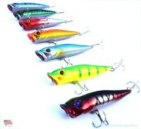 Lot 7 New Fishing Lures Top Water Poppers Bass Crankbaits, Swimbaits