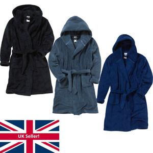 Bedlam Boys Hooded Fleece Dressing Gown Bath Robe Unisex Plain Colours 9-15 Yrs