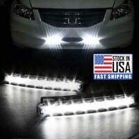 2x 8 LED Daytime Running Lights Car Driving DRL Fog Lamp Light White Bright 12V.