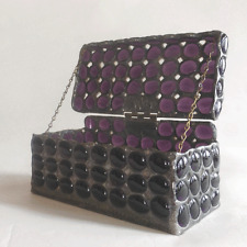 Stained glass jewelry box by 1178designs -medieval style - amethyst jewels