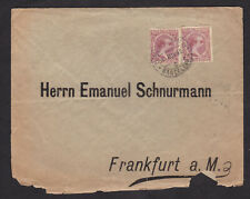 Spain 1889 Comunicaciones 50 Centimos Pair on 1896 Cover to Germany