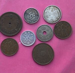 Japan Silver Coins Nice Early Coins See Pics
