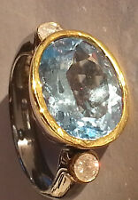 Aquamarine and Diamond Ring .925 Silver, Gold Accents, Size ~5 7/8