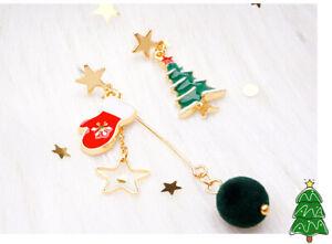 925 Sterling Silver Christmas Xmas Cute Women Kids Girls Tree Earrings Gift