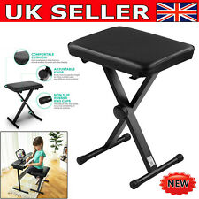 More details for piano keyboard stool/chair/bench black padded seat cushion adjustable height uk