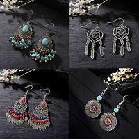 Women Round Turquoise Earring Jewelry Hook Drop Dangle Leaf Feather Hook Earring