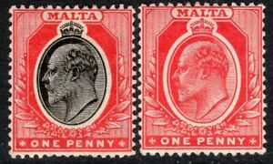 Malta 1904 black/red 1d red 1d multi-crown mint SG48/49