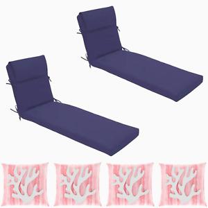 Chaise Lounge Chair Cushion (2pc) Patio Outdoor Allen+Roth w/ 4 Coral Pillows