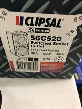 New Clipsal Switched Socket Outlet 3 Phase 5 Round Pin 20A 500Vac 3P IP66 56C520