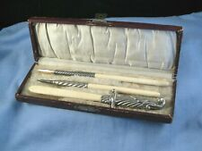 EDWARDIAN ANTIQUE WRITING SET DIP PEN LETTER OPENER PENCIL IN DISPLAY BOX