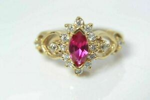 10K GOLD LAB GROWN MARQUISE RUBY RING SIZE 5.5