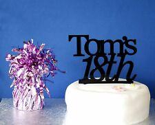 Personalised Birthday cake topper celebration Black acrylic 18th 21st 30th