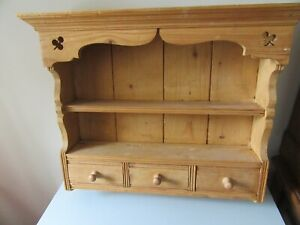 SMALL PINE KITCHEN WALL RACK WITH DRAWERS