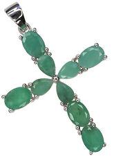 Emerald Gemstone Cross Design Argento Sterling Ciondolo + Catena