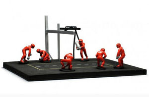 1:43 Ixo Pitstop Mechanic set 6 figurines with acessories red