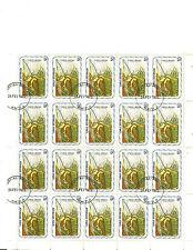 HAITI: FULL SHEET OF 20 x 75 CENTIMES, 1975 LONGBILL BIRD STAMPS, CTO